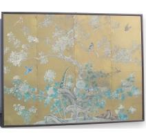 Panneau peinture sur soie.