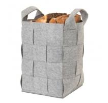 Panier à bûches en feutre gris avec anses Zugara