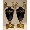 Paire de vases en porcelaine et bronze
