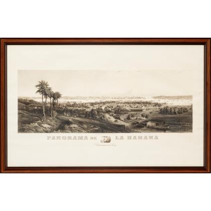 "Gravure ""Panorama de la Havane"" par WILLMANN"