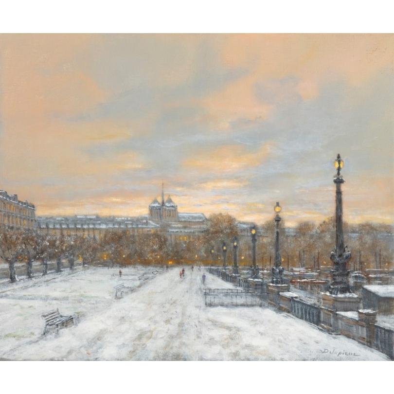 """Tableau """"Au quai Gustave-Ador"""" signé DELAPIERRE"""