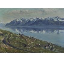 """Tableau """"Reflets des montagnes"""" signé E. ROSSET"""