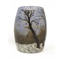 """Vase décor émaillé """"paysage d'hiver"""" signé LEGRAS"""