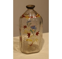 """Bouteille en verre dite """"Flüeli"""" décor fleurs"""