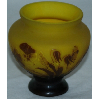 GALLE vase, yellow-brown