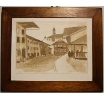 """棕褐色的水彩""""格吕耶尔的小屋""""签署GETAZ"""