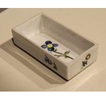 Petit plat rectangulaire de Rosenthal, fleur bleue