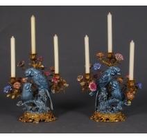 """Paire de bougeoirs """"Couple de perroquets bleus"""""""