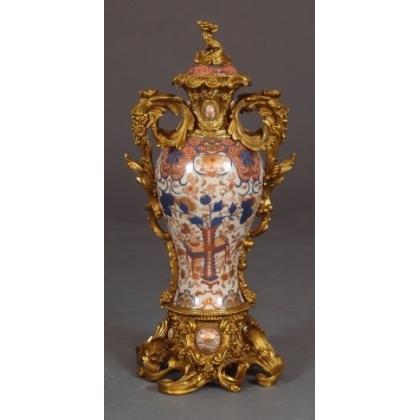 Vase couvert en porcelaine Imari