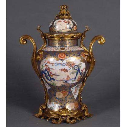 Vase couvert en porcelaine Paysage