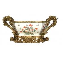 Coupe en porcelaine Grue et roseaux