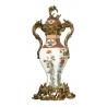 Vase couvert en porcelaine Grue et roseaux