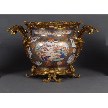 Cache pot en porcelaine Paysage Imari