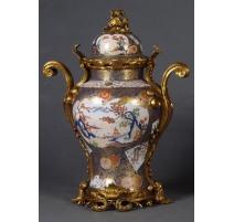 Vase couvert en porcelaine Paysage Imari