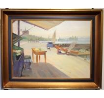 "Tableau ""Quai Gustave-Ador"" signé BAUDIT 1935"