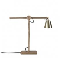Lampe de bureau Harmony en chêne et laiton