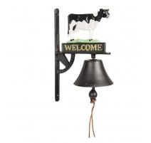 Cloche d'entrée Vache polychrome en fonte