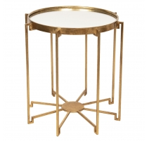 Table d'appoint en métal doré et verre