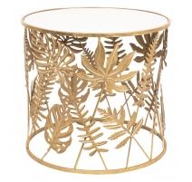 Table d'appoint Feuilles en métal doré et verre