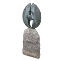 Bronze Canard Garrot en vol signé Y. LARSEN