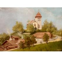 Tableau  Eglise de Château d'Oex  signé
