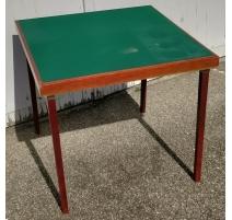 Table de bridge en merisier et feutre vert