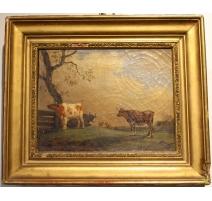 """Tableau """"Vaches"""" signé et daté 1825"""
