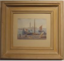 """Aquarelle """"Venise"""" signé H. WEBER"""