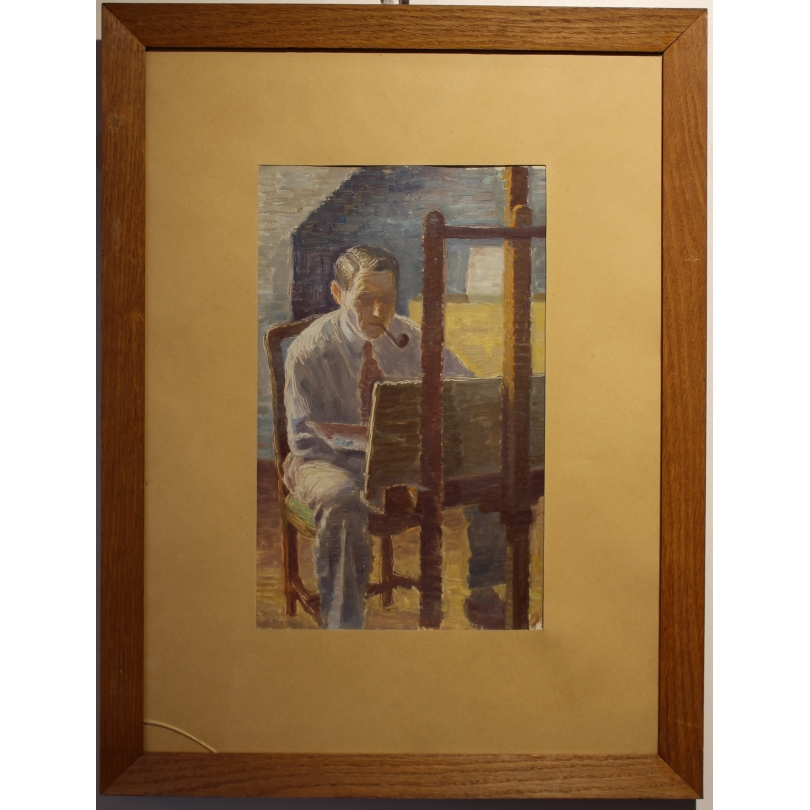 """Tableau """"L'artiste à la palette"""" signé H. WEBER 40"""