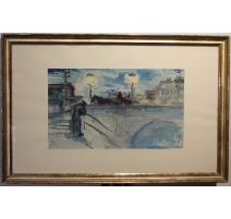 "Aquarelle ""Paris"" signée HAEFLIGER"