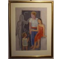 """Tableau """"Famille"""" signé H. WEBER 31"""