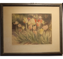 "Aquarelle ""Tulipes"" signé H. WEBER 50"