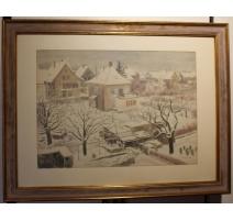 """Aquarelle """"Village sous la neige"""" signé H. WEBER"""