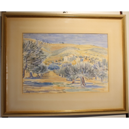 "Aquarelle ""Toscane"" signé H. WEBER 38"