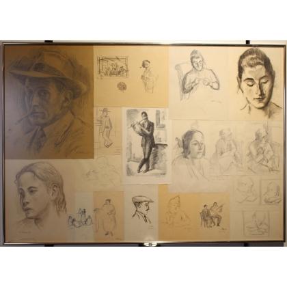"""Collage de dessins """"Portraits"""" signés H. WEBER"""