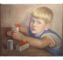 """Tableau """"Portrait de Peter Weber"""" par H. WEBER"""