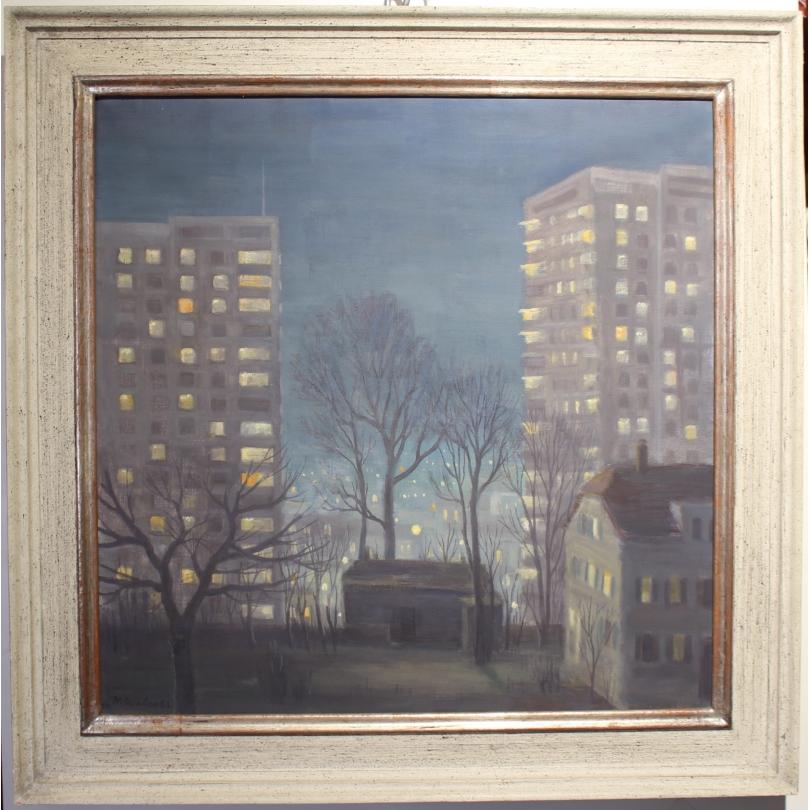"""Tableau """"Birsfelden la nuit"""" signé H. WEBER 62"""