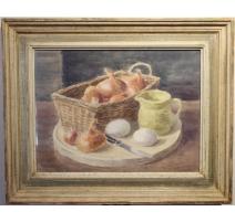 """Aquarelle """"Panier d'oignons"""" signé H. WEBER 58"""