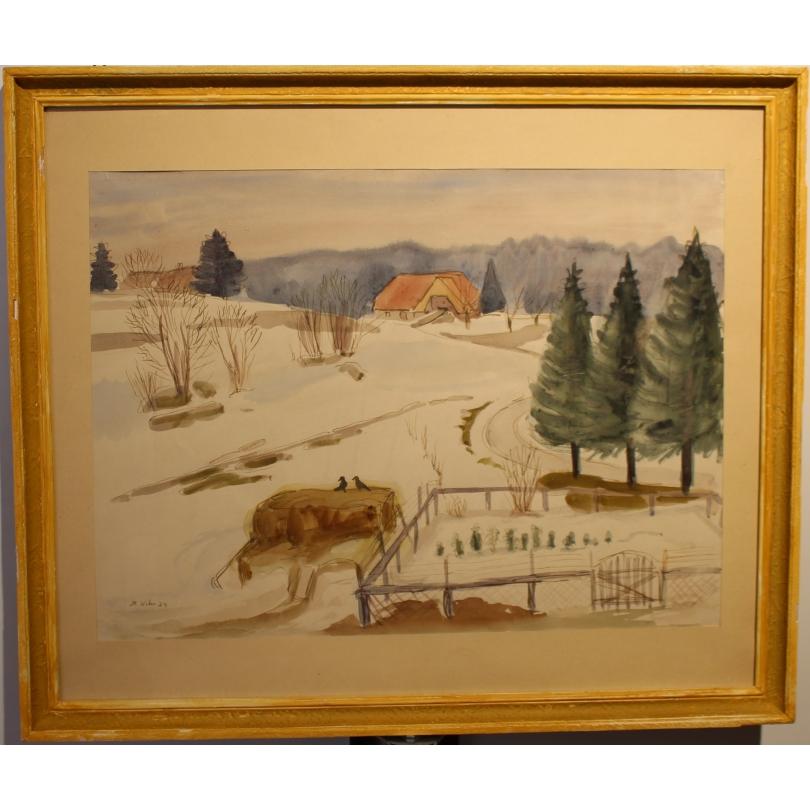 """Aquarelle """"Ferme sous la neige"""" signé H. WEBER 34"""