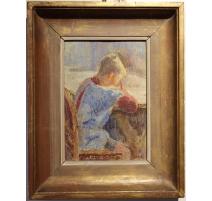 """Tableau """"Peter aux devoirs"""" signé H. WEBER"""
