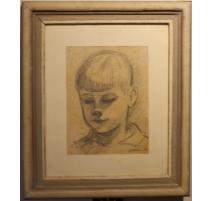 """Dessin """"Portrait de Peter"""" signé H. WEBER 33"""