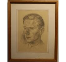 """Dessin """"Portrait de Peter"""" signé H. WEBER 49"""