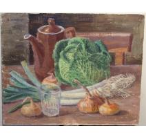 """Tableau """"Légumes sur la table"""" signé H. WEBER 45"""
