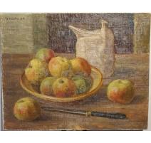 """Tableau """"Pommes sur la table"""" signé H. WEBER 44"""