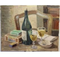"""Tableau """"Bouteille et deux verres"""" signé H. WEBER"""