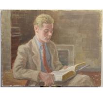 """Tableau """"Peter à la lecture"""" signé H. WEBER 47"""