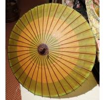 Ombrelle chinoise en bambou, papier jaune et vert