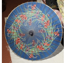 Ombrelle chinoise en bambou, papier bleu à fleurs
