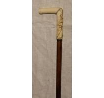 Canne avec poignée en ivoire