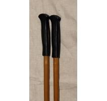 Paire de cannes de marche en bambou